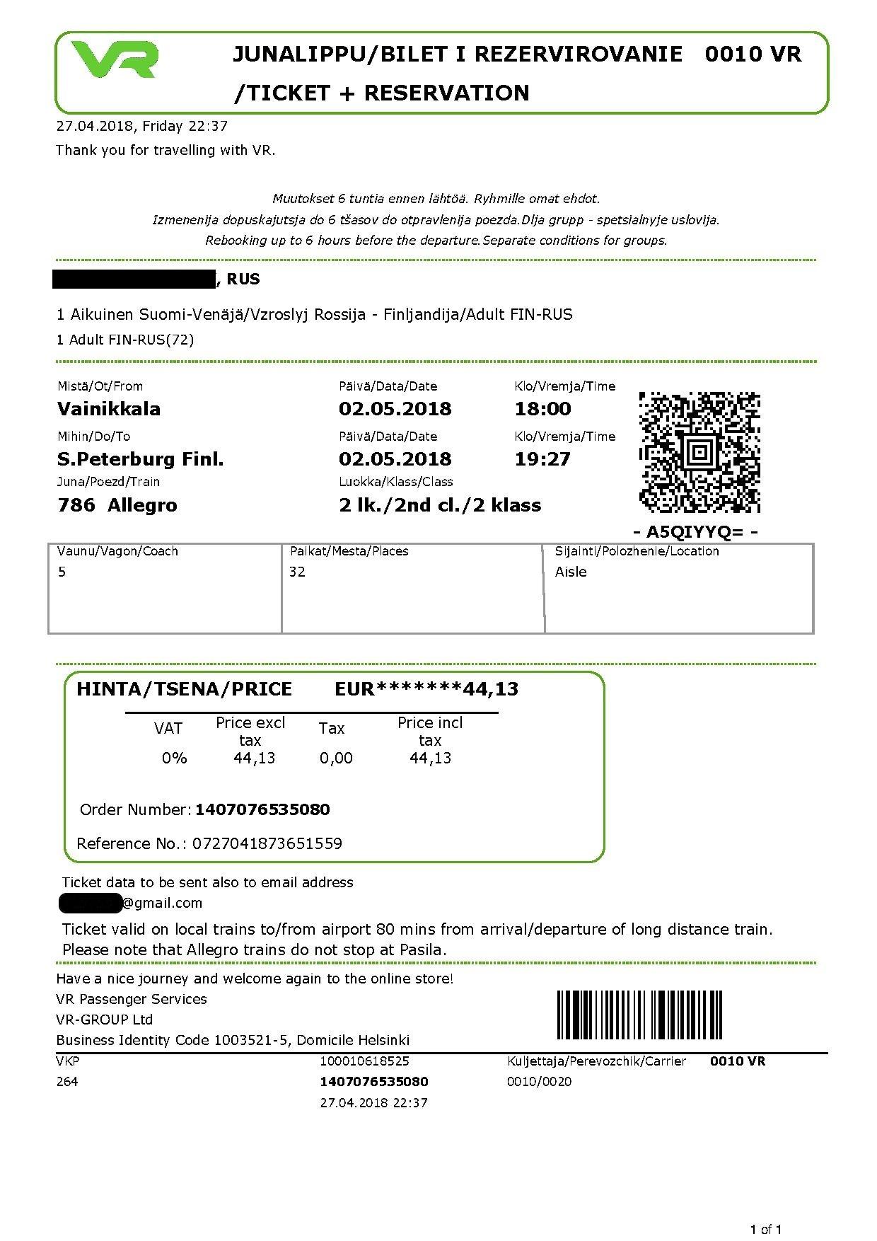 Железнодорожный билет на поезд Аллегро, купленный в Finrail